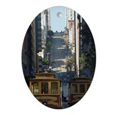 san francisco cable car Oval Ornament