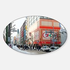 Sapporo street scene in winter Sticker (Oval)