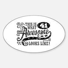 41st Birthday Sticker (Oval)