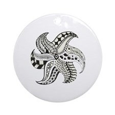 Black and White Doodle Seastar or S Round Ornament