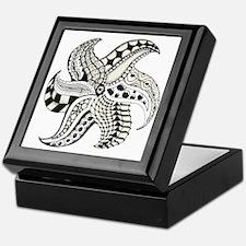 Black and White Doodle Seastar or Sta Keepsake Box