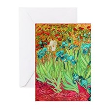 van gogh teal irises Greeting Cards