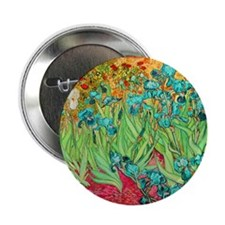 "van gogh teal irises 2.25"" Button (100 pack)"