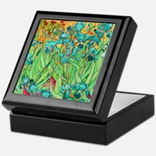 van gogh teal irises Keepsake Box