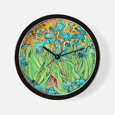 van gogh teal irises Wall Clock