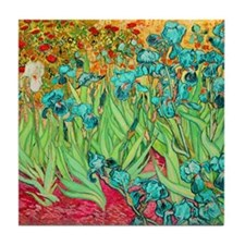 van gogh teal irises Tile Coaster