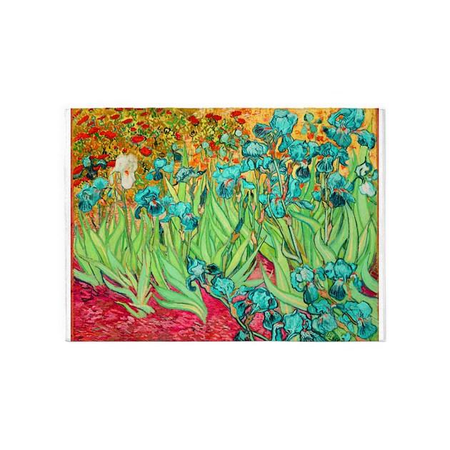 Van Gogh Teal Irises 5'x7'Area Rug By PixDezines