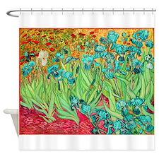 van gogh teal irises Shower Curtain