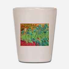 van gogh teal irises Shot Glass