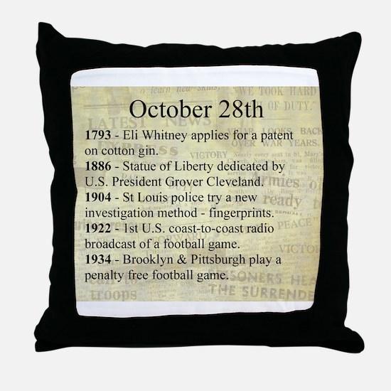October 28th Throw Pillow