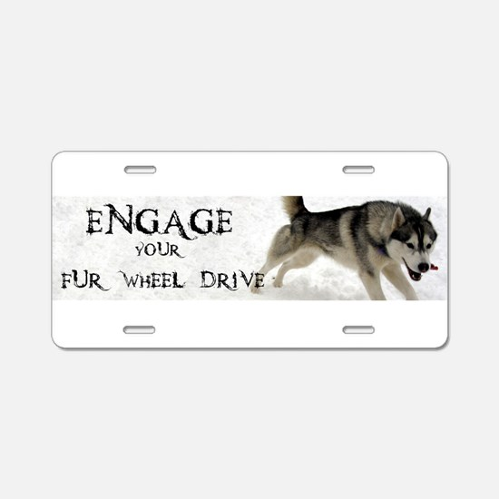 Engage Your Fur Wheel Drive Aluminum License Plate