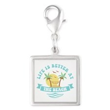 Life's Better At The Beach Silver Square Charm