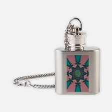 Pink Aqua & Teal Geometric OM Star Flask Necklace