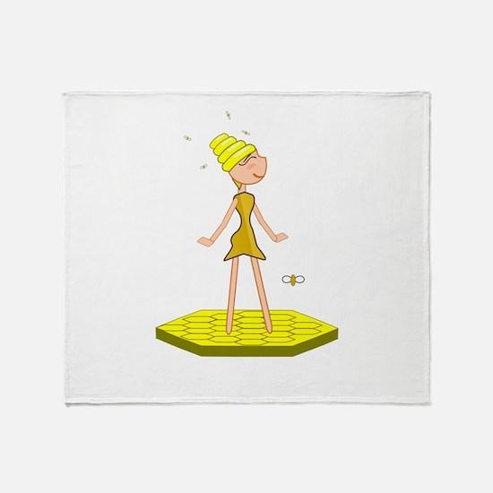 Beehive Cute Girl Throw Blanket