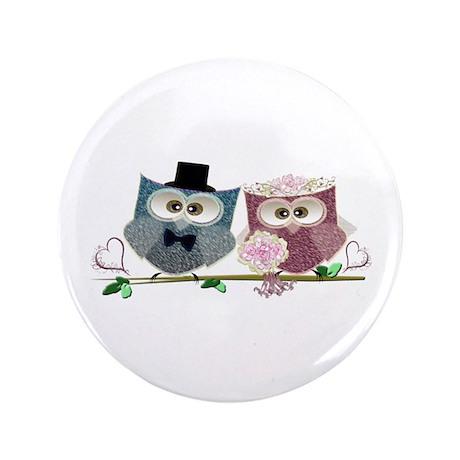 """Wedding Owls Art 3.5"""" Button (100 Pack)"""
