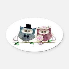 Wedding Owls Art Oval Car Magnet