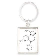 Alprazolam Molecule Portrait Keychain