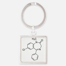 Diazepam Molecule Square Keychain