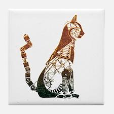 Steampunk Bronze Cat Tile Coaster