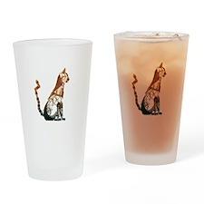 Steampunk Bronze Cat Drinking Glass
