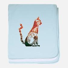 Steampunk Bronze Cat baby blanket