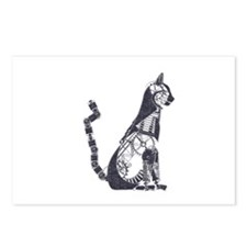 Silver steampunk cat Postcards (Package of 8)