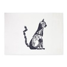 Silver steampunk cat 5'x7'Area Rug