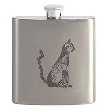 Silver steampunk cat Flask