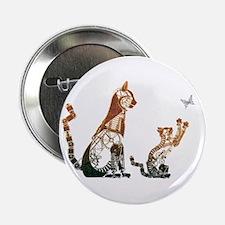 """Steampunk Bronze Cats 2.25"""" Button"""