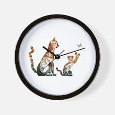 Steampunk Bronze Cats Wall Clock