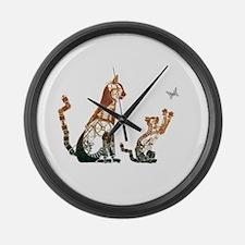 Steampunk Bronze Cats Large Wall Clock