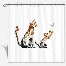 Steampunk Bronze Cats Shower Curtain