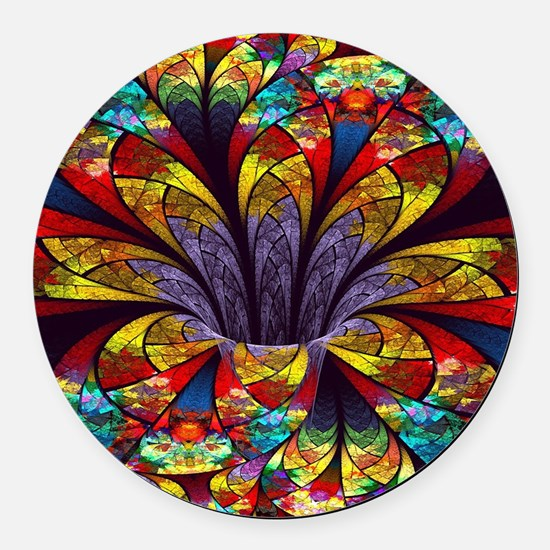 Fractal Stained Glass Bloom Round Car Magnet