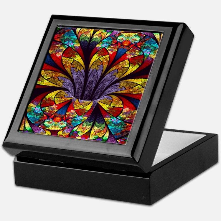 Fractal Stained Glass Bloom Keepsake Box