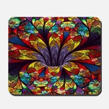 Fractal Stained Glass Bloom Mousepad
