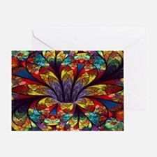 Fractal Stained Glass Bloom Greeting Card