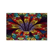 Fractal Stained Glass Bloom Rectangle Magnet