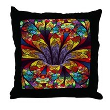 Fractal Stained Glass Bloom Throw Pillow