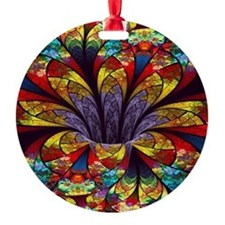 Fractal Stained Glass Bloom Ornament
