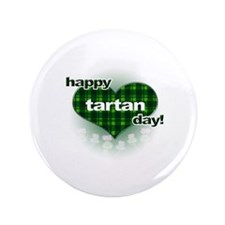 """Tartan Day Heart and Thistles 3.5"""" Button"""