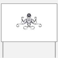 Steampunk Silver Octopus Yard Sign