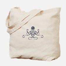 Steampunk Silver Octopus Tote Bag