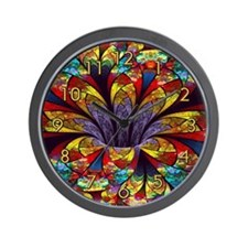 Fractal Stained Glass Bloom Clock Wall Clock