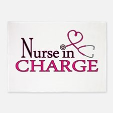 Nurse in Charge - Pink 5'x7'Area Rug