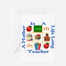 mom is a teacher Greeting Cards (Pk of 10)