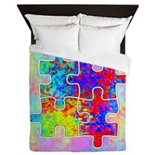 Autism Colorful Puzzle Pieces Queen Duvet