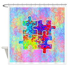 Autism Colorful Puzzle Pieces Shower Curtain
