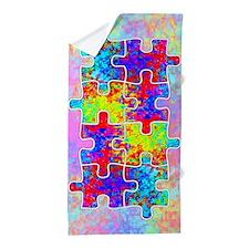 Autism Colorful Puzzle Pieces Beach Towel