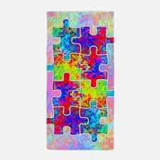 Autism Colorful Puzzle Pieces Beach Towel