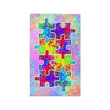 Autism Colorful Puzzle Pieces 3'x5' Area Rug